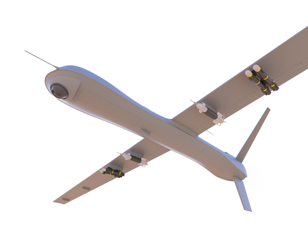 aerial bomb: Military unmanned aerial vehicle (UAV) with missiles isolated on white