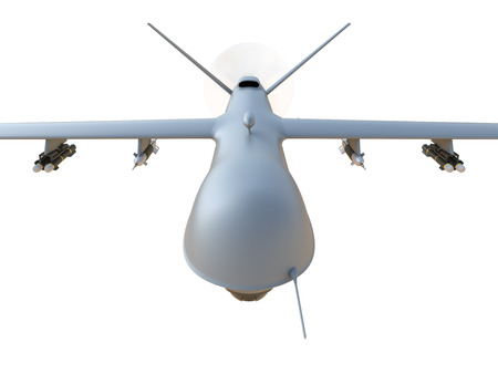 missiles: Military unmanned aerial vehicle (UAV) with missiles isolated on white