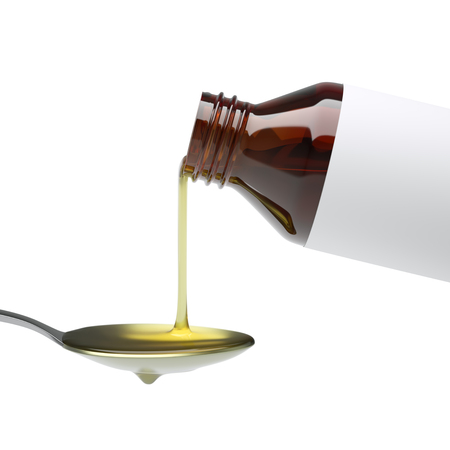 Pouring cough syrup or similar medicine into spoon