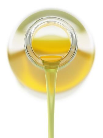 Gieten plantaardige olie uit een glazen fles
