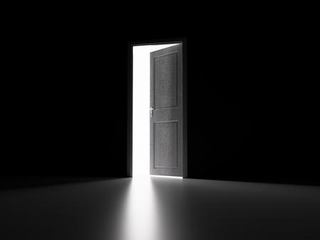 Tür öffnen und Licht dahinter Standard-Bild