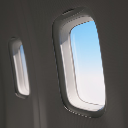 aerospace industry: Looking through an airplane window