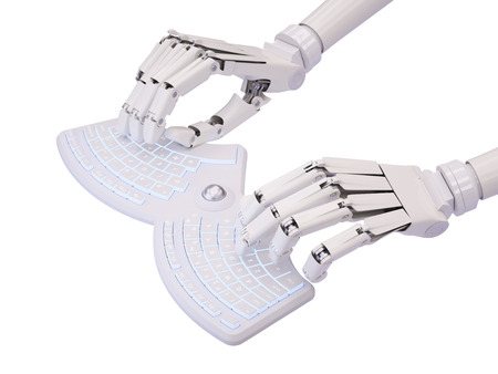 Robot tippen auf konzeptionellen futuristische Selbst beleuchtete Tastatur Standard-Bild - 44966149