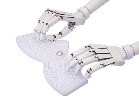 Robot typing on conceptual futuristic self-illuminated keyboard