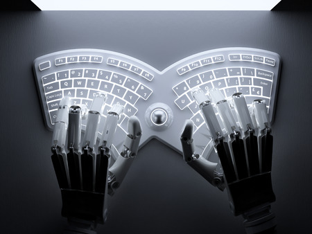 Robot typing on conceptual futuristic self-illuminated keyboard