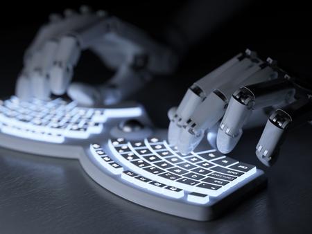 Robot tippen auf konzeptionellen futuristische Selbst beleuchtete Tastatur Standard-Bild - 44966162