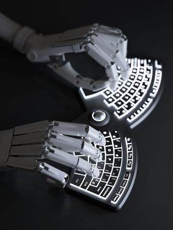 keyboard: Robot typing on conceptual futuristic self-illuminated keyboard