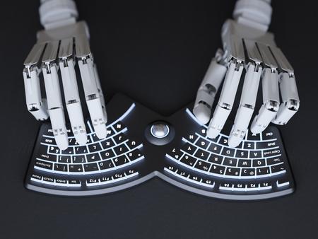 Roboter, der auf konzeptioneller futuristischer selbst-beleuchteter Tastatur schreibt Standard-Bild - 44966264