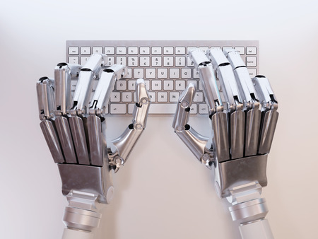 inteligencia: Robot escribiendo en el teclado conceptual Foto de archivo