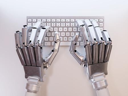 Robot te typen op het toetsenbord conceptuele Stockfoto