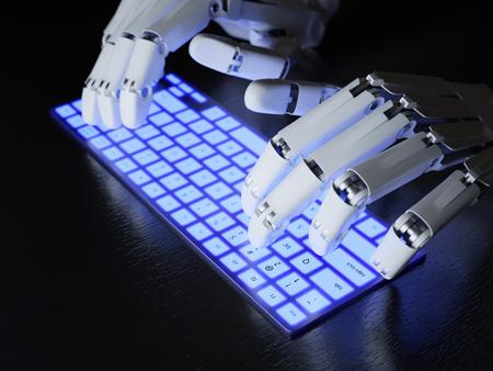 mecanografía: Robot escribiendo en el teclado conceptual Foto de archivo