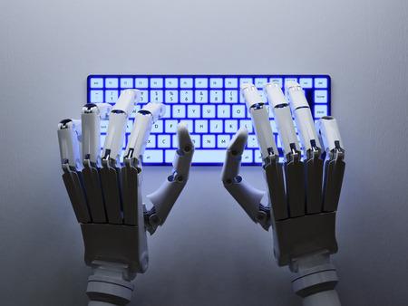 Robot tippen auf konzeptionelle Tastatur Standard-Bild - 45260701
