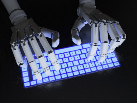 artificial light: Robot typing on conceptual keyboard