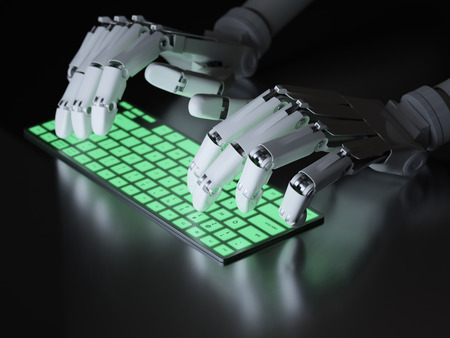 robot hand: Robot typing on conceptual keyboard