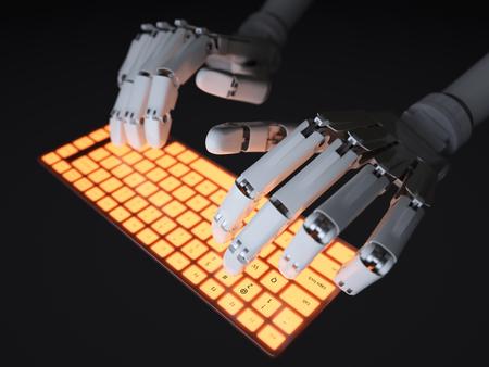 keyboard: Robot typing on conceptual keyboard