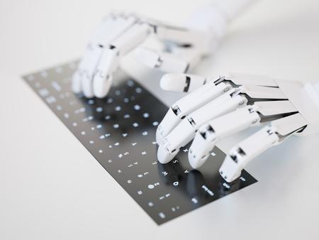 Robot tippen auf konzeptionelle Tastatur Standard-Bild - 45260719