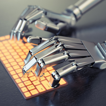 Robot typing on conceptual keyboard Фото со стока - 45260755
