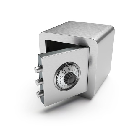 cipher: Open safe box isolated on white Stock Photo