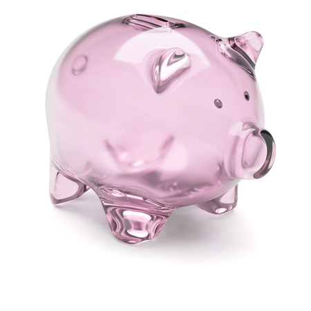 insufficient: Empty transparent glass piggy bank isolated on white