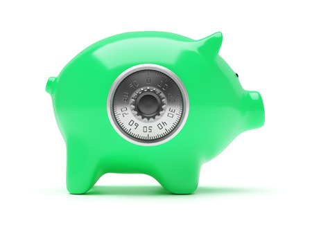 white piggy bank: Green piggy bank with code lock isolated on white