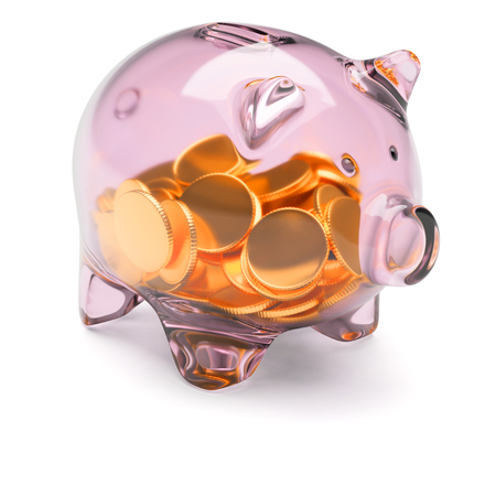 Transparent glass piggy bank full of coins isolated on white