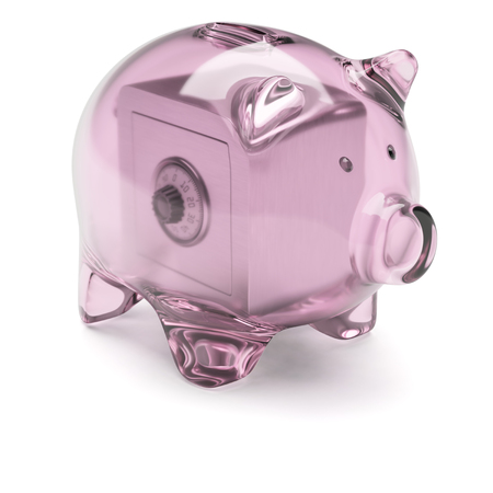 cipher: Transparent glass piggy bank with safe box inside isolated on white