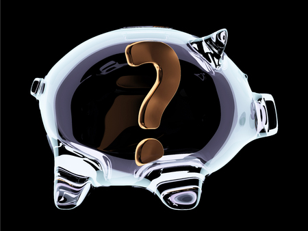 Transparent glass piggy bank with question mark inside isolated on black