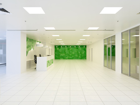 3d illustration of abstract modern hall interior in office building