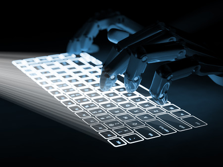 future concept: Conceptual virtual keyboard projected onto surface and hands of robot typing on it