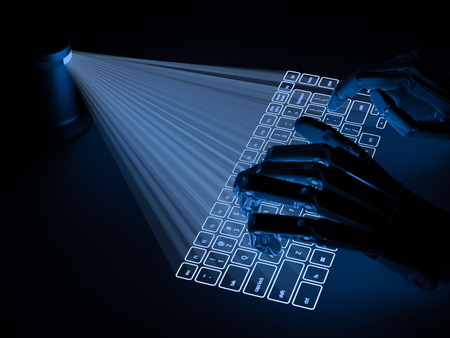 internet keyboard: Conceptual virtual keyboard projected onto surface and hands of robot typing on it
