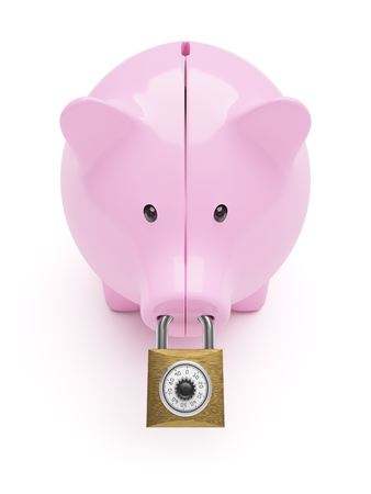 piggybank: Piggy-bank closed on code lock concept isolated on white background