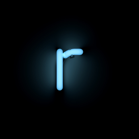 r image: Letter r lower case neon alphabet collection isolated on black Stock Photo