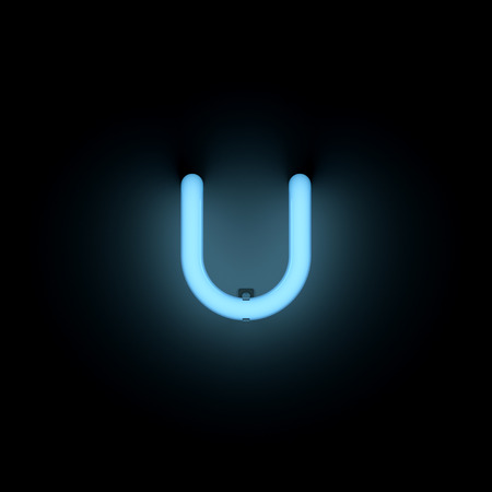 lower case: Letter u lower case neon alphabet collection isolated on black Stock Photo