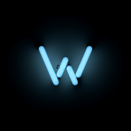 lower case: Letter w lower case neon alphabet collection isolated on black Stock Photo