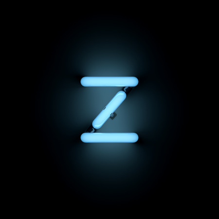 lower case: Letter z lower case neon alphabet collection isolated on black Stock Photo
