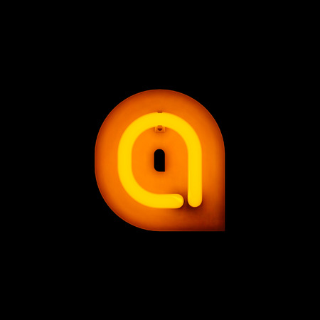 lower case: Neon Letter a lower case neon alphabet collection isolated on black Stock Photo