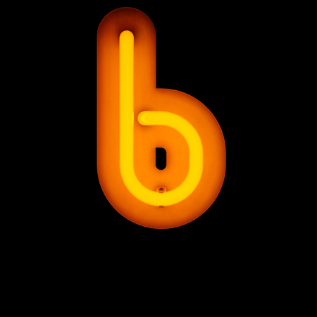 letter b: Neon Letter b lower case neon alphabet collection isolated on black (rounded)