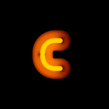lower case: Neon Letter c lower case neon alphabet collection isolated on black (rounded)
