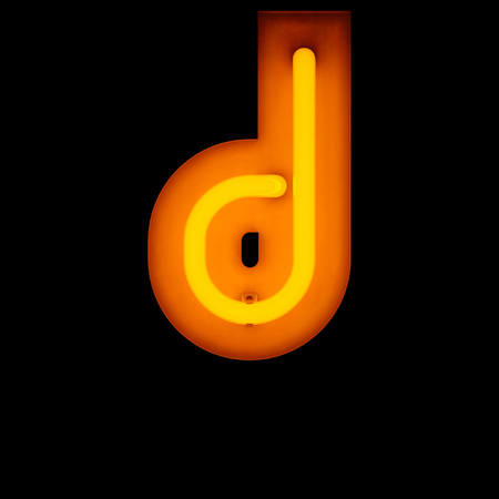 lower case: Neon Letter d lower case neon alphabet collection isolated on black