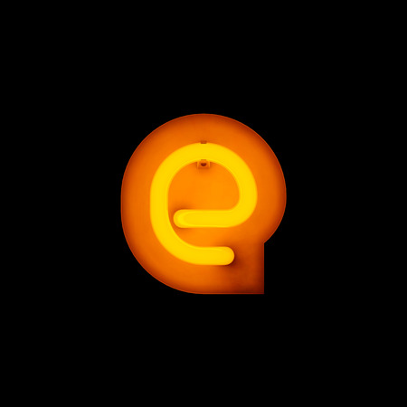 lower case: Neon Letter e lower case neon alphabet collection isolated on black