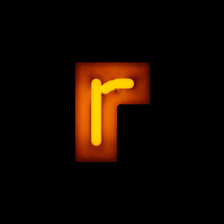 letter r: Neon Letter r lower case neon alphabet collection isolated on black