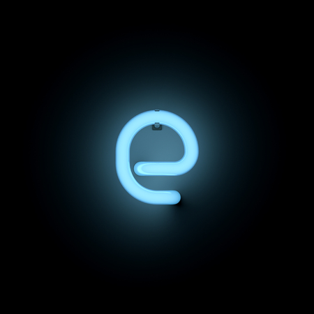 lower case: Letter e lower case neon alphabet collection isolated on black Stock Photo