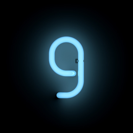 lower case: Letter g lower case neon alphabet collection isolated on black Stock Photo