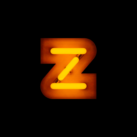 lower case: Neon Letter z lower case neon alphabet collection isolated on black Stock Photo