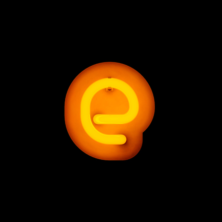 lower case: Neon Letter e lower case neon alphabet collection isolated on black (rounded)