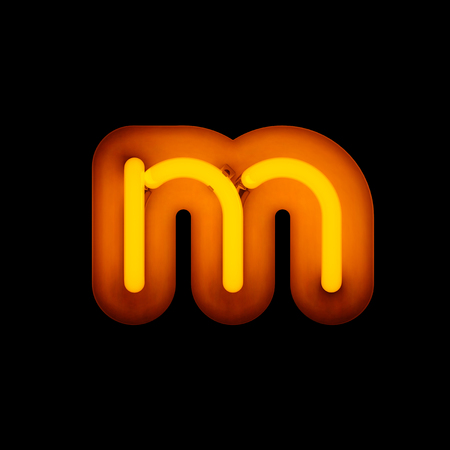 Neon Letter m lower case neon alphabet collection isolated on black (rounded)