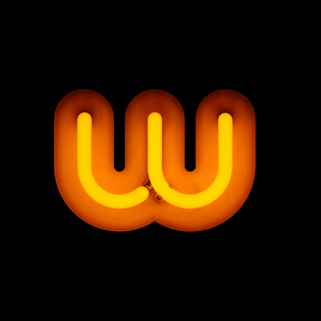 letter w: Neon Letter w lower case neon alphabet collection isolated on black (rounded)