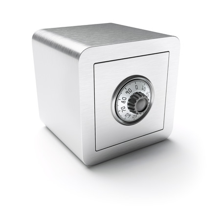cypher: Closed safe box isolated on white