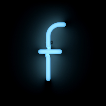 lower case: Letter f lower case neon alphabet collection isolated on black Stock Photo