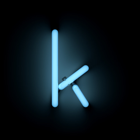 letter k: Letter k lower case neon alphabet collection isolated on black Stock Photo